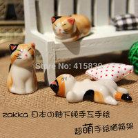 free shipping 10pcs handmade ceramic chopstick rest small lucky cat chopsticks holder