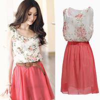 Free Shipping! 2014 Fashion Summer Chiffon Sundress Newest Spring  Womens Flower Sleeveless Dress, Beach Dresses Pink