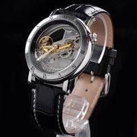 Free Shipping Men's Black Leather Skeleton Hand Wind Mechanical Watch/Dress For Men/Women Watches/Original Brand Winner Watch