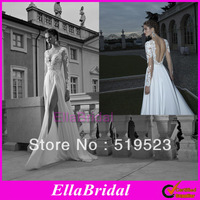 2014 Berta Lace V  Neck See Through Tulle Backless Long Sleeves Chiffon Side Slit Wedding Dresses Sexy Beach Bridal Gown BRI340