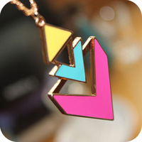 wholesale On0145 trigonometric neon fashion geometry color candy color block punk necklace female chain necklace