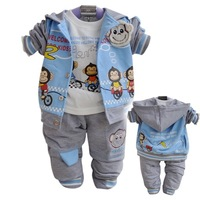 Free shipping! Cute Bike Monkey Baby boy Clothing set 3PC/SET Jacket+T-shirt+Pants Toddler Clothes spring autumn infant outfits