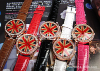 The new 2014 middle school students watch word British flag diamond female south Korean fashion meter dial fashion table