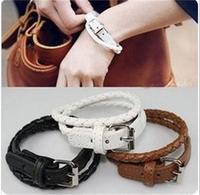 2014 Korean Fashion Simple Women Leather Bracelet Woven Multi-layer Winding Bracelet Wholesale 24pcs/lot