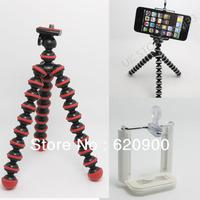 100% GUARANTEE  RED/BLACK Mini Octopus Flexible Tripod Stand for GALAXY S2 Camera Smart Phone +  black Phone Holder