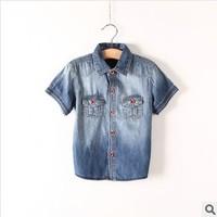 2014 summer fashion short sleeve boys denim shirts girls casual jean shirts kids shirts children's shirts