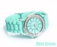 20pcs Fashion Jelly Silicone Classic Gel Crystal Wrist Watch Quartz Girls Mint Green 13 colors Lady Women diamond watch