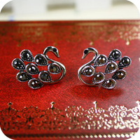wholesale Oe0450 earrings antique silver little swan stud earring accessories
