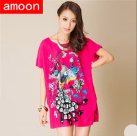 Amoon / Women New Spring Summer Casual Ice Cotton Peacock Print Rhinestone Dress F5009/Free Shipping /Plus Size /Red Colors