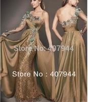 Designer Brown Chiffon Lace Appliques One Long Sleeve Mermaid Prom Dresses 2015 One Shoulder Elegant Party Dress robe de soiree