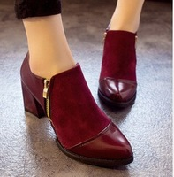 freeshipping women's Retro tip thick heel boots zipper with short boots pu material black and red