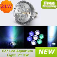 New E27 Bulb Epistar Led Coral Reef Tank Fish Grow Aquarium light 21W 60 degree Blue White Green For free shipping