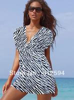 New women bikini dress deep v flared sleeve ruffled cover up leopard stripe dot rainbow line style mini beachwear swimsuit homey