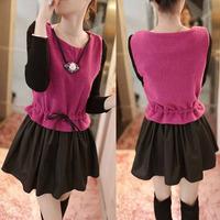 2014 spring women's slim waist colorant match o-neck long-sleeve dress hangings