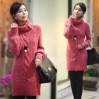 Winter women's button turtleneck thickening long design long-sleeve sweater pullover wool sweater dress