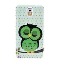 Fashion Cute Sleep Owl Pattern Case For Samsung Galaxy Note 3 iii N9000 Back Cover Free Shipping