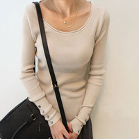 Korean round neck long-sleeved knit curling shell button thread bottoming sweater 601 Ladies sweater