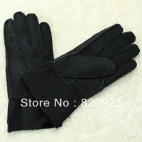 1 X Black Men Sheepskin Leather Shearling Fur Winter Warm Glove Mitten