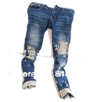 2014 Free shipping//Female leopard print wearing white retro finishing hole butt-lifting pencil jeans roll up hem applique