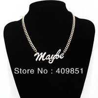 Statement Gold Chunky Letter Mayle Chain Choker Necklace Punk Goth New Free Shipping Women Fashion Jewelry High Quality Celebs