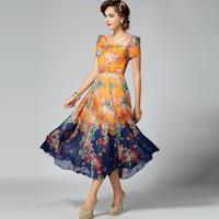 2014 women's summer one-piece dress high quality chiffon slim medium-long skirt lyq-099