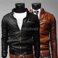 Fashion New Mens Premiun Design Pu Leather Slim Tops Coat Outwear Jacket Black/ Brown Size M L XL XXL  Free Shipping
