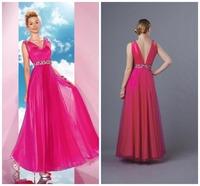 Fress Shipping 2014 Latest  Crystal Beading V-neck  Straight Floor-length   Sleeveless  Beautiful  Prom Dresses