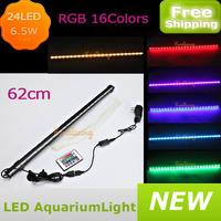 24pcs*5050 SMD LEDs aquarium light bar fish tank decoration lamp 6.5w ip68 underwater submersible air bubble safe led light 12v