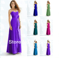 Floor Length Chiffon Sweetheart  Bridesmaid Dresses Free shipping Multiple Color Lace up Flower waist new  gown A 326