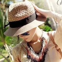 2014 fashion summer women  Straw Hat visor hat casual women sun cap/beach hat Retail Free Shipping