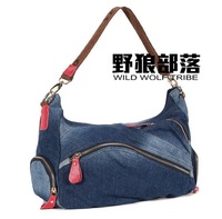 The wolf denim handbag tribal one shoulder cross-body 2014 autumn portable one shoulder women's denim handbag 0013