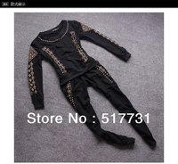 New Arrival ! 2014 New Arrival Fashion Women Tracksuits Rivet Skull Girl's Sportwear Suit Streetwear Tops + pants