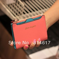 2014 New arrive women's cute Candy color hasp short design thin wallet zipper bag cheap online free shipping