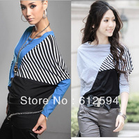Bottom Price! Promotion!New women batwing sleeve stripe t-shirt color block cotton tops tees spring loose elastic hip hop street