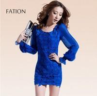 New 2014 fashion sexy lace stitching package hip Slim chiffon dress Free shipping       q3076