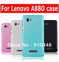 Free shipping Jelly Anti-fingerprint series candy color soft silicone TPU case for Lenovo A880 with free screen protector