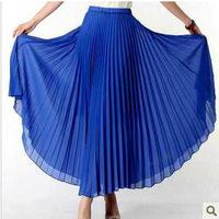 New Arrivals Fashion Woman Pleated Chiffon Long Skirt bohemian Vintage 95cm lenght 12 colors free ship