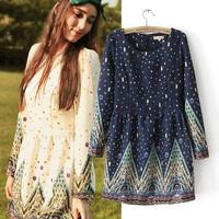 Fairy 2014 multicolour gem digital print long-sleeve dress female chiffon basic skirt female