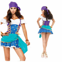 Halloween pirate Role-playing Gypsy Costume Party dress blue uniform 8602-2 , free shipping