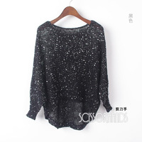 2014 New Women fashion hollow bat sleeve  casual  knit sweater with sequins free shipping
