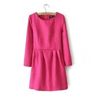 Skirt embossed flower plus size o-neck long-sleeve slim female short skirt one-piece dress