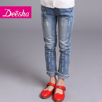 Free Shipping Deesha children's clothing children's pants 2014 female child trousers all-match elastic jeans trousers