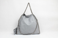 DHL Free Shipping! Light Grey Shaggy Deer Fold Over Falabella Bags Faux Leather Triple Handle Totes  Size  36 x 32 x 10cm
