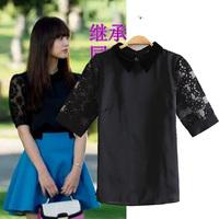 Korean organza lace shirt short-sleeve T-shirt female lace shirt