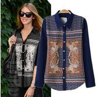 2014 summer fashion print long-sleeve shirt basic shirt blouse