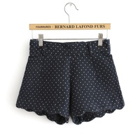 All-match high waist polka dot scalloped woolen shorts boot cut jeans female elastic waist