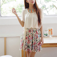 2014 summer casual dress floral flower print high waist chiffon one-piece dress free shipping