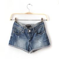 Pants slim distrressed roll-up low-waist hem denim shorts 21