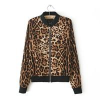 Autumn new arrival women's slim leopard print zipper long-sleeve o-neck outerwear jacket thin