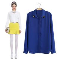 2014 summer fashion brief fashion long-sleeve shirt beading female shirt